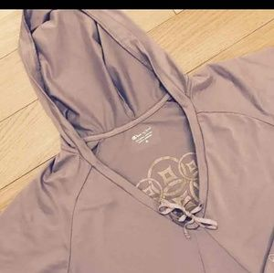 Champion purple light weight hooded top size mediu